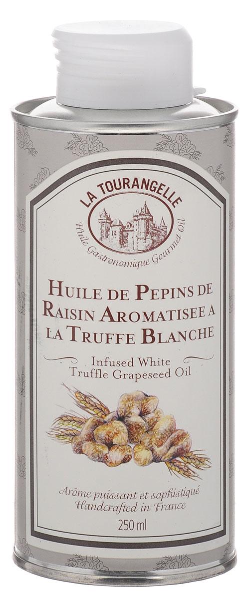 """La Tourangelle White Truffle Flavoured Grapeseed Oil -  100% масло виноградных косточек с натуральным ароматом белых трюфелей.Аромат белого трюфеля объединен с маслом виноградных косточек, которое является одним из лучших масел. Будучи одним из самых богатых природных источников линолевой кислоты, масло виноградных косточек может творить чудеса, когда речь идет о борьбе с сердечными заболеваниями и """"плохим"""" холестерином. Линолевая кислота относится к семейству полиненасыщенных жирных кислот. Она соединяется в крови с холестерином, превращая его в то, от чего организм человека впоследствии может легко избавиться.Белые трюфели находят в Альбе, Италия. Они признаны самыми благородными и престижными из трюфелей. Сильный, интенсивный, земляной запах этого масла привнесет в любое ваше блюдо глубокий аромат, и, в частности, будет идеальным дополнением к пасте, картофельному пюре, мясу и другим блюдам.Мастера Ла Туранжель готовят масло белых трюфелей по традиционному французскому рецепту, которому уже более 150 лет. Чтобы сохранить аромат, они смешивают его с маслом виноградной косточки, имеющим нейтральный аромат и славящимся своими полезными свойствами."""