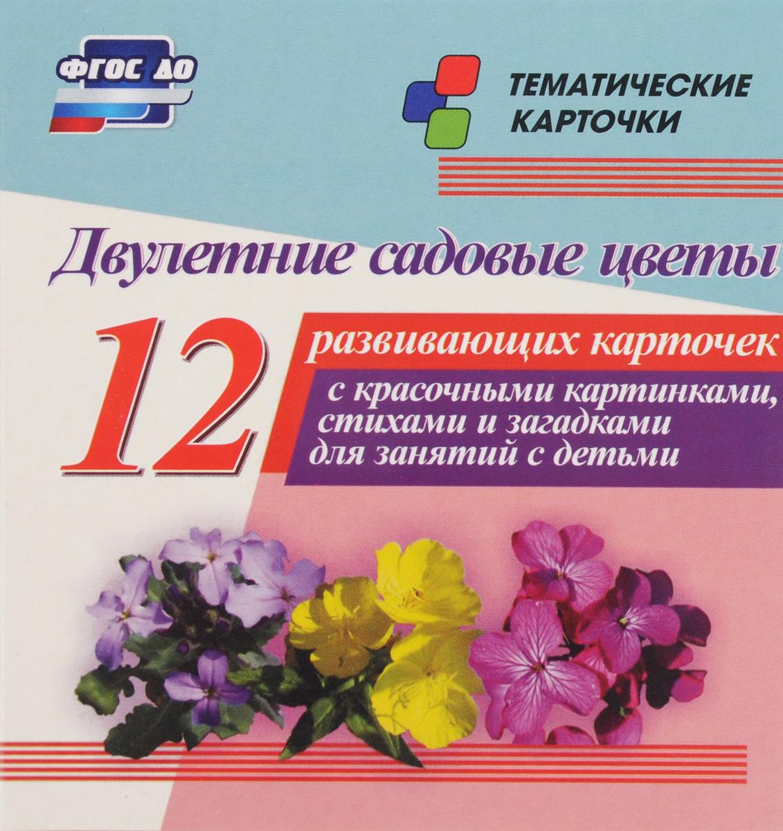 Двулетние садовые цветы (12 развивающих карточек)