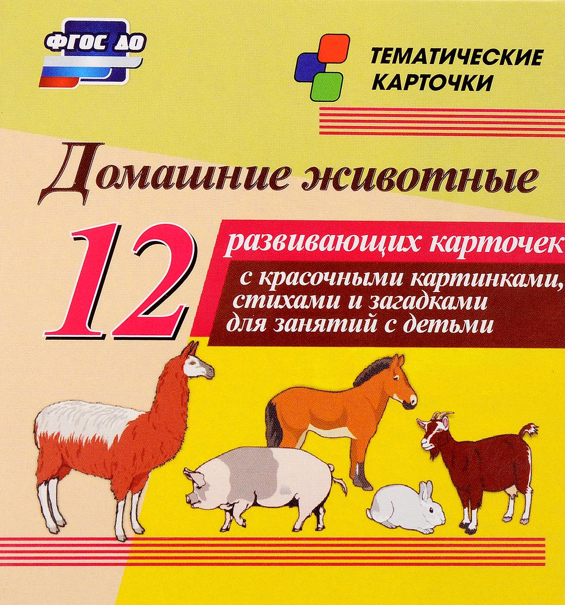 Домашние животные (набор из 12 развивающих карточек)