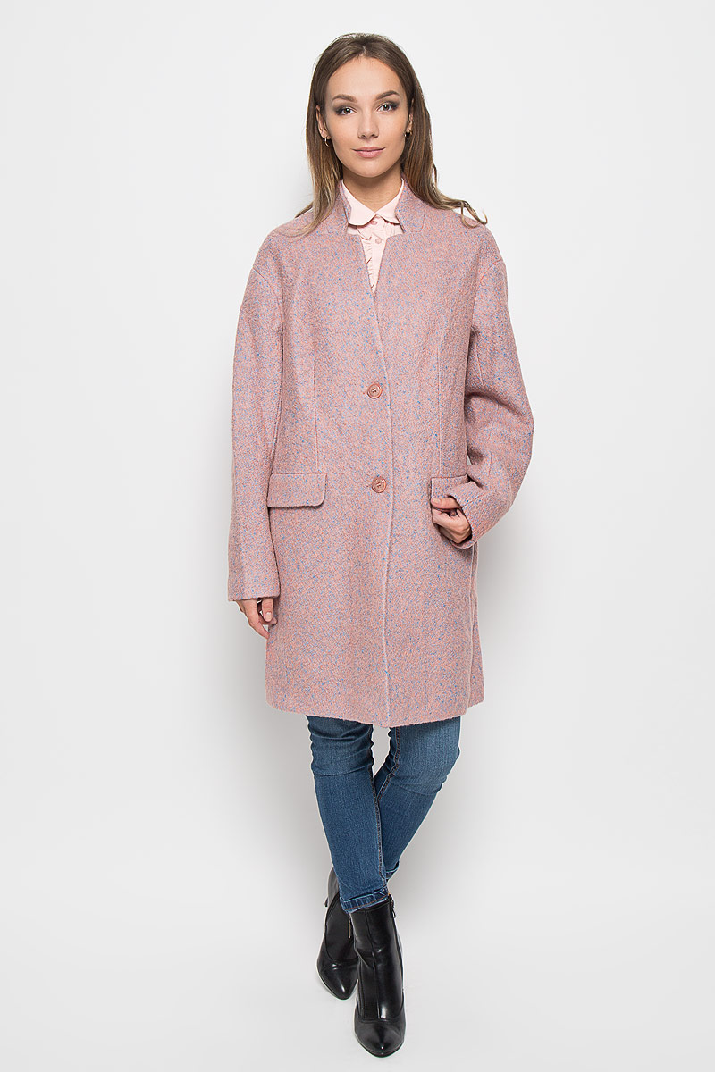Пальто женское Finn Flare, цвет: пепельно-розовый, голубой. A16-11079_325. Размер L (48) пальто женское finn flare цвет бордовый w16 12001 301 размер l 48