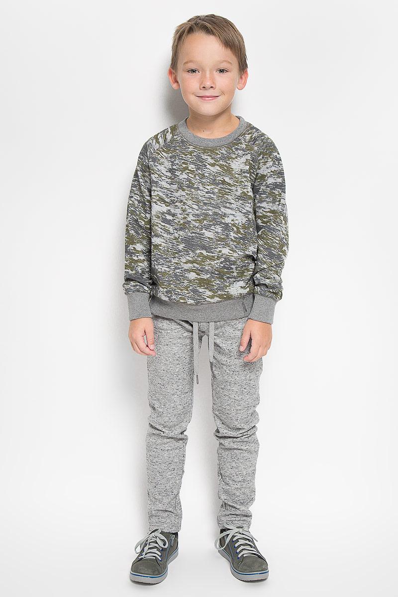 Свитшот для мальчика Sela, цвет: серый, темно-зеленый. St-813/154-6313. Размер 140, 10 лет