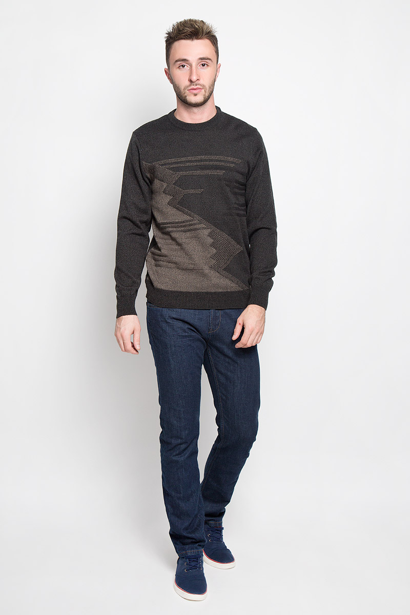 Джемпер мужской Milana Style, цвет: темно-серый. 1667. Размер 481667Стильный мужской джемпер Finn Flare, выполненный из высококачественного материала, необычайно мягкий и приятный на ощупь, не сковывает движения, обеспечивая наибольший комфорт. Модель с круглым вырезом горловины и длинными рукавами идеально гармонирует с любыми предметами одежды и будет уместен и на отдых, и на работу. Низ изделия, горловина и манжеты связаны широкой резинкой, что предотвращает деформацию при носке. Мягкий и уютный джемпер станет прекрасным дополнением вашего гардероба.