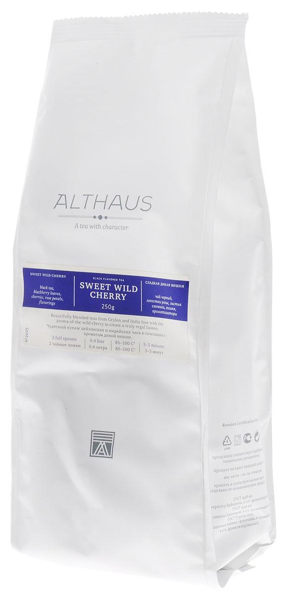 Althaus Sweet Wild Cherry черный листовой чай, 250 гTALTHL-L00093Althaus Сладкая Дикая Вишня — превосходный купаж отборных сортов индийского и цейлонского черного чая с чарующим ароматом дикой вишни. Ягоды вишни от природы наделены неповторимым вкусом и пьяняще-сладким запахом, поэтому они идеально подходят для ароматизации чая. Сочетание кусочков спелой вишни с душистыми листьями ежевики и лепестками пурпурной розы составляет замечательный букет этого чая. Выразительный сладкий аромат сочных вишневых ягод доминирует в этой необычной композиции, уравновешивая крепость самого чая. Глубокий, блюзовый запах розы смягчает яркий вкус и завершает букет легкой цветочной нотой. Ощущение чистоты и свежести создают зеленые листья лесной ежевики.Ягоды вишни содержат витамины и органические кислоты, поэтому вишневый чай прекрасно тонизирует и укрепляет организм.Оптимальная температура заваривания Сладкой Дикой Вишни 95°С.Температура воды: 85-100 °С Время заваривания: 3-5 мин Цвет в чашке: золотисто-красныйВсё о чае: сорта, факты, советы по выбору и употреблению. Статья OZON Гид