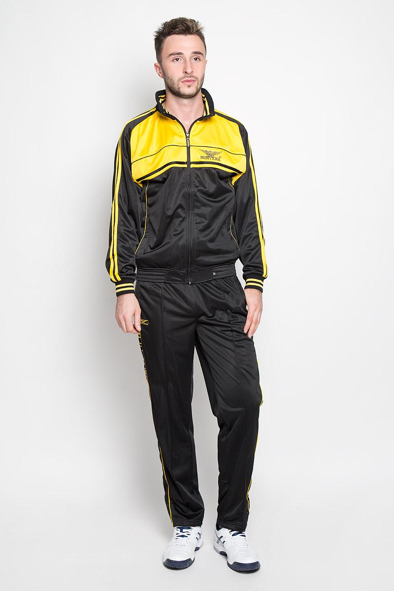 Спортивный костюм мужской Montana, цвет: черный, желтый. 27051. Размер M-80 (48-80)27051_BYМужской спортивный костюм Montana великолепно подойдет для отдыха, повседневной носки, а также для занятий спортом. Костюм включает в себя легкую ветровку и свободные брюки.Ветровка с длинными рукавами-реглан и воротником-стойкой выполнена из полиэстера и застегивается на застежку-молнию спереди. Воротник имеет трикотажную отделку, что обеспечит комфорт при носке и защиту от натирания. Эластичные трикотажные манжеты мягко обхватывают запястья, не сдавливая их. Модель дополнена двумя втачными карманами на молниях спереди. Низ изделия дополнен широкой эластичной резинкой. Брюки прямого кроя и средней посадки изготовлены из полиэстера, благодаря чему великолепно отводят влагу от тела и превосходно сидят, обеспечивая вам комфорт даже во время интенсивных тренировок.Брюки имеют широкую эластичную резинку на поясе, объем талии регулируется при помощи шнурка-кулиски с металлическими стопперами. Изделие дополнено двумя втачными карманами на молниях спереди и одним втачным карманом на молнии сзади, а также украшено принтом с изображением логотипа производителя.Этот модный и в то же время удобный спортивный костюм - настоящее воплощение комфорта. В нем вы всегда будете чувствовать себя уверенно и непременно достигнете новых спортивных высот.