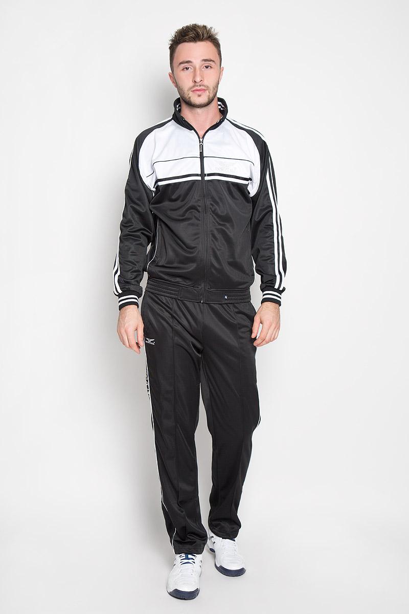 Cпортивный костюм мужской Montana, цвет: черный, белый. 27051. Размер M-80 (48-80)27051_BWМужской спортивный костюм Montana великолепно подойдет для отдыха, повседневной носки, а также для занятий спортом. Костюм включает в себя легкую ветровку и свободные брюки.Ветровка с длинными рукавами-реглан и воротником-стойкой выполнена из полиэстера и застегивается на застежку-молнию спереди. Воротник имеет трикотажную отделку, что обеспечит комфорт при носке и защиту от натирания. Эластичные трикотажные манжеты мягко обхватывают запястья, не сдавливая их. Модель дополнена двумя втачными карманами на молниях спереди. Низ изделия дополнен широкой эластичной резинкой. Брюки прямого кроя и средней посадки изготовлены из полиэстера, благодаря чему великолепно отводят влагу от тела и превосходно сидят, обеспечивая вам комфорт даже во время интенсивных тренировок.Брюки имеют широкую эластичную резинку на поясе, объем талии регулируется при помощи шнурка-кулиски с металлическими стопперами. Изделие дополнено двумя втачными карманами на молниях спереди и одним втачным карманом на молнии сзади, а также украшено принтом с изображением логотипа производителя.Этот модный и в то же время удобный спортивный костюм - настоящее воплощение комфорта. В нем вы всегда будете чувствовать себя уверенно и непременно достигнете новых спортивных высот.