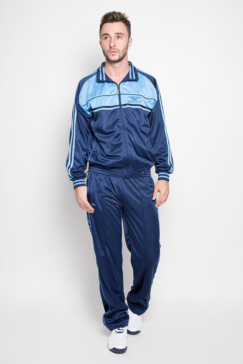 Cпортивный костюм мужской Montana, цвет: голубой, темно-синий. 27051. Размер M-80 (48-80)27051_BNМужской спортивный костюм Montana великолепно подойдет для отдыха, повседневной носки, а также для занятий спортом. Костюм включает в себя легкую ветровку и свободные брюки.Ветровка с длинными рукавами-реглан и воротником-стойкой выполнена из полиэстера и застегивается на застежку-молнию спереди. Воротник имеет трикотажную отделку, что обеспечит комфорт при носке и защиту от натирания. Эластичные трикотажные манжеты мягко обхватывают запястья, не сдавливая их. Модель дополнена двумя втачными карманами на молниях спереди. Низ изделия дополнен широкой эластичной резинкой. Брюки прямого кроя и средней посадки изготовлены из полиэстера, благодаря чему великолепно отводят влагу от тела и превосходно сидят, обеспечивая вам комфорт даже во время интенсивных тренировок.Брюки имеют широкую эластичную резинку на поясе, объем талии регулируется при помощи шнурка-кулиски с металлическими стопперами. Изделие дополнено двумя втачными карманами на молниях спереди и одним втачным карманом на молнии сзади, а также украшено принтом с изображением логотипа производителя.Этот модный и в то же время удобный спортивный костюм - настоящее воплощение комфорта. В нем вы всегда будете чувствовать себя уверенно и непременно достигнете новых спортивных высот.