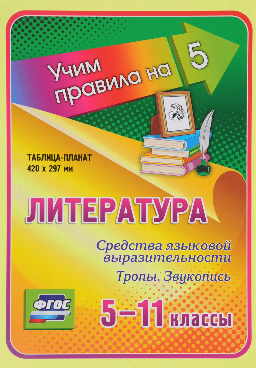 Литература. 5-11 классы. Средства языковой выразительности. Тропы. Звукопись. Таблица-плакат