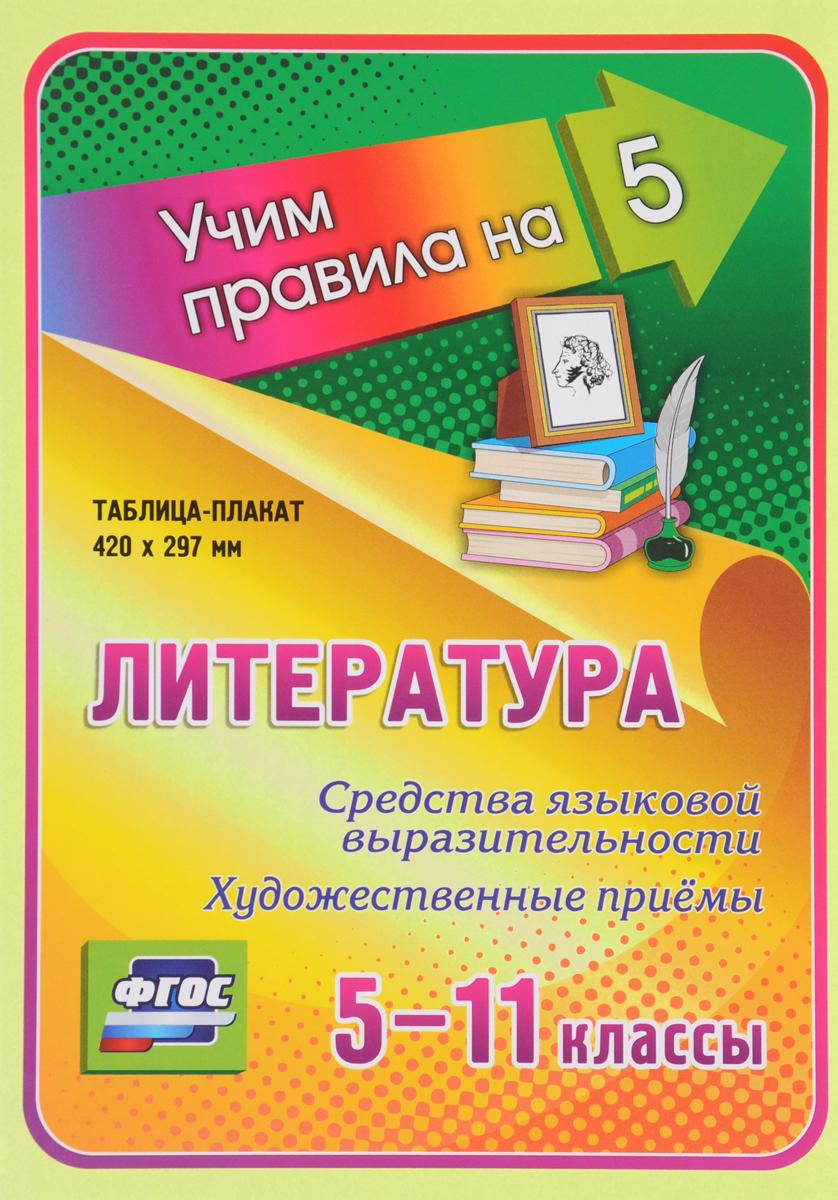 Литература. 5-11 классы. Средства языковой выразительности. Художественные приёмы. Таблица-плакат