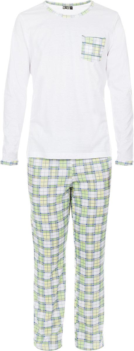 Пижама мужская RAV, цвет: белый, салатовый. RAV04-006. Размер XL (52)RAV04-006Мужская пижама RAV включает в себя лонгслив и свободные прямые брюки. Изготовленная из натурального хлопка, пижама приятна на ощупь, не сковывает движения и позволяет коже дышать, обеспечивая комфорт.Лонгслив с длинными рукавами и круглым вырезом горловины дополнен накладным нагрудным карманом.Брюки свободного кроя с широкой эластичной резинкой в поясе украшены принтом в клетку. . В такой пижаме вам будет максимально комфортно и уютно.