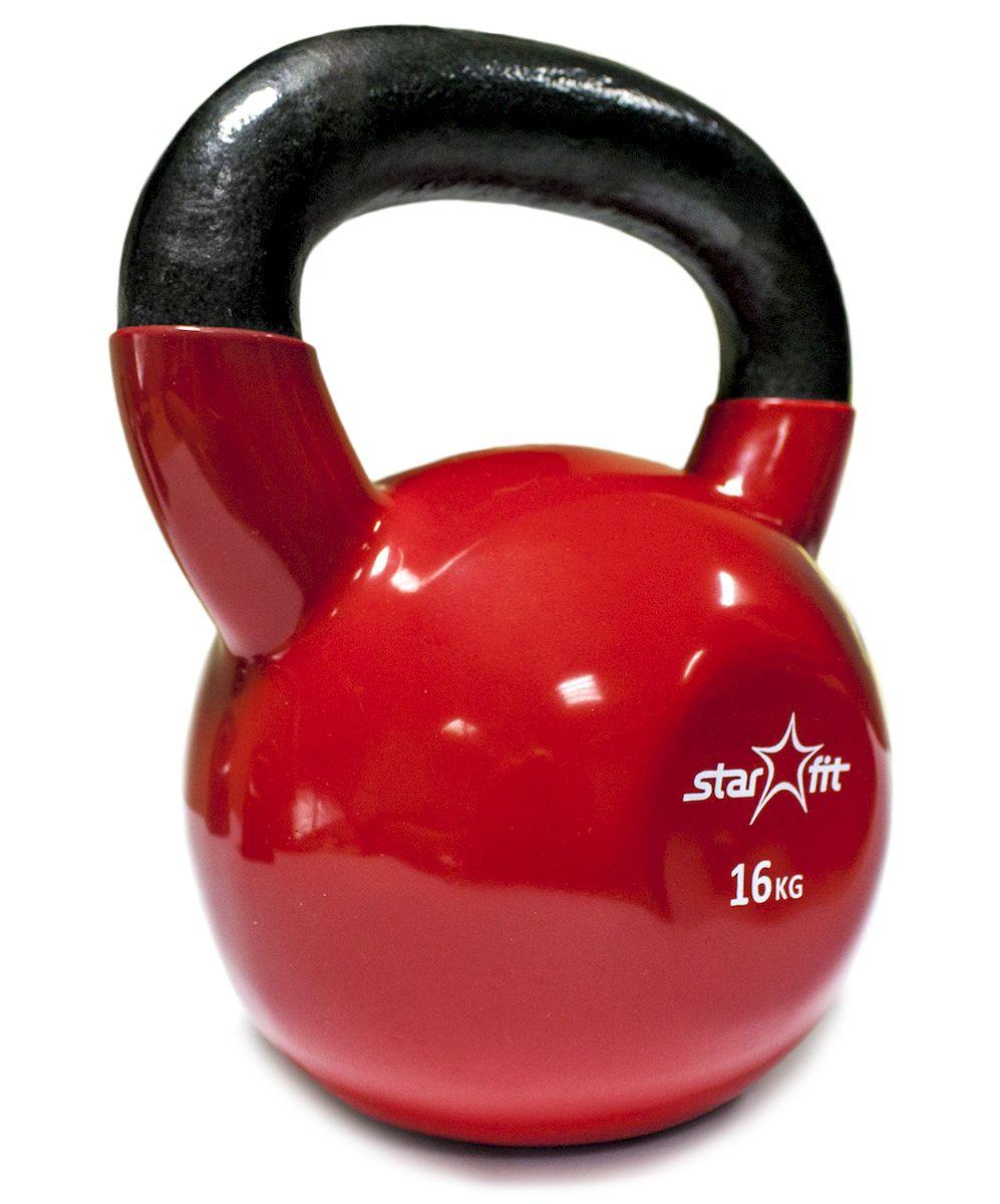 Гиря Starfit DB-401, виниловая, цвет: красный, черный, 16 кг гиря starfit db 401 виниловая цвет желтый черный 4 кг