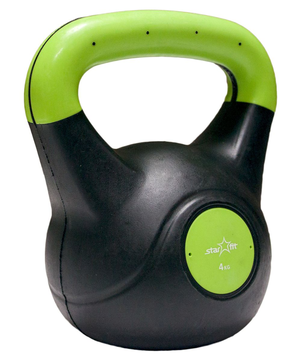 Гиря Starfit DB-501, пластиковая, цвет: зеленый, черный, 4 кгУТ-00007110Гиря пластиковая Star Fit DB-501 не царапает пол и создает меньше шума при падении. Пластиковый корпус наполнен цементом. Данная модель имеет индивидуальный дизайн и приятное яркое цветовое решение. Гиря используется в фитнесе, бодибилдинге, функциональном тренинге, лечебной физкультуре, беге и других спортивных дисциплинах.Вес: 4 кг.
