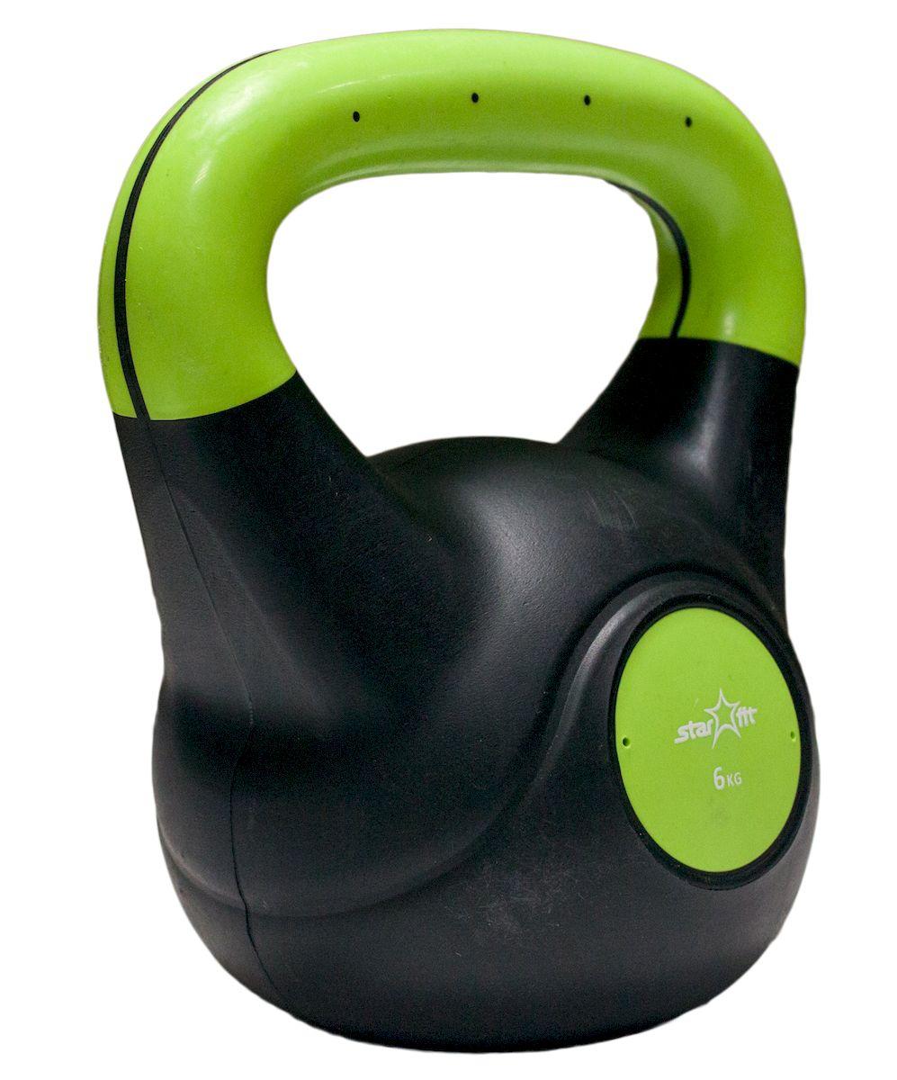 Гиря Star Fit DB-501, пластиковая, цвет: зеленый, черный, 6 кг гиря starfit db 401 виниловая цвет желтый черный 4 кг