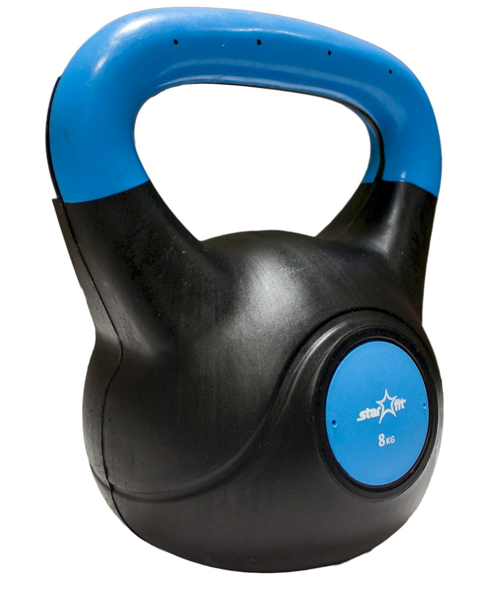 Гиря Starfit DB-501, пластиковая, цвет: синий, черный, 8 кг starfit
