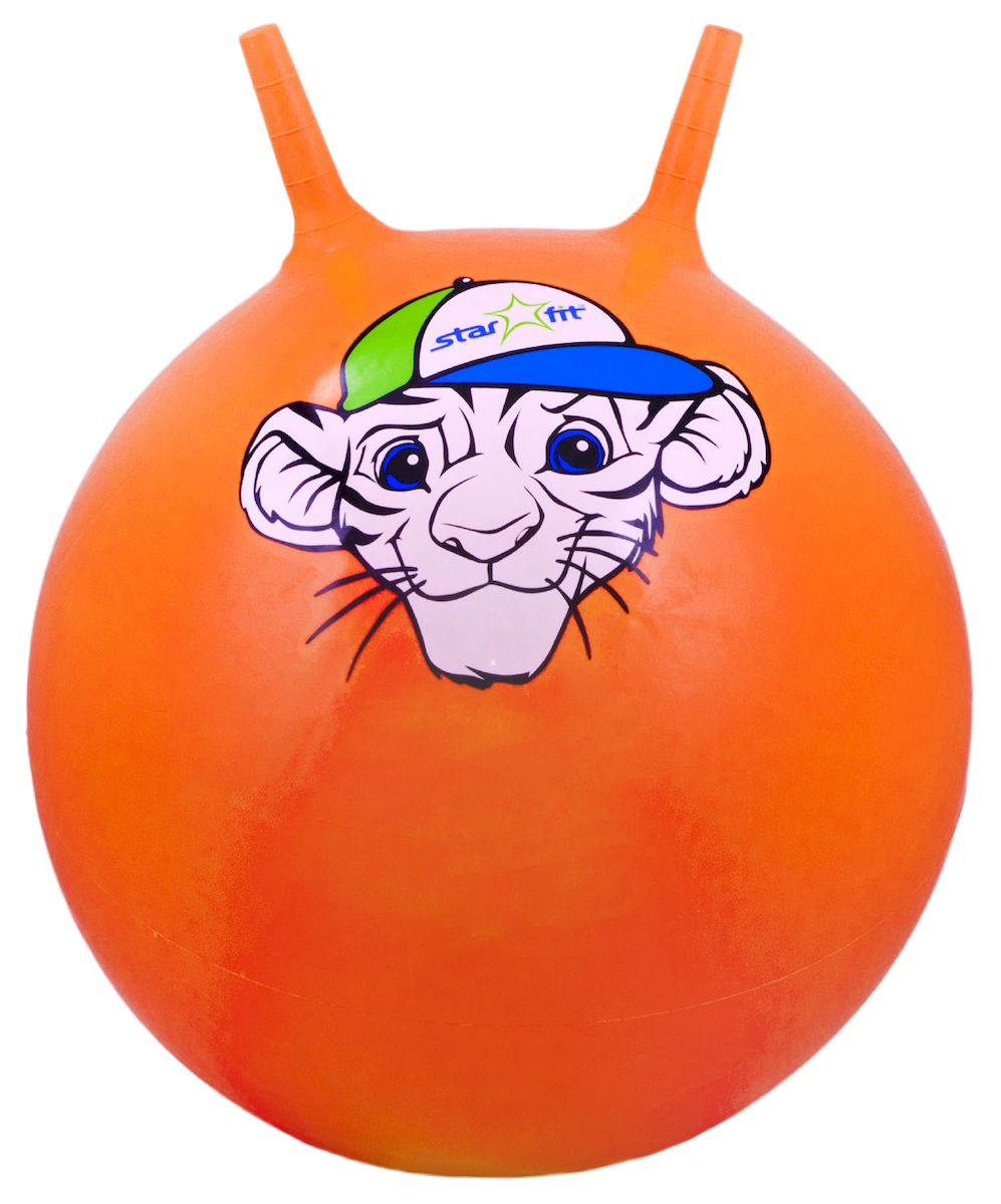 Мяч-попрыгун Starfit Тигренок, с рожками, цвет: оранжевый, белый, зеленый, диаметр 55 см эспандеры starfit эспандер starfit es 702 power twister черный 50 кг