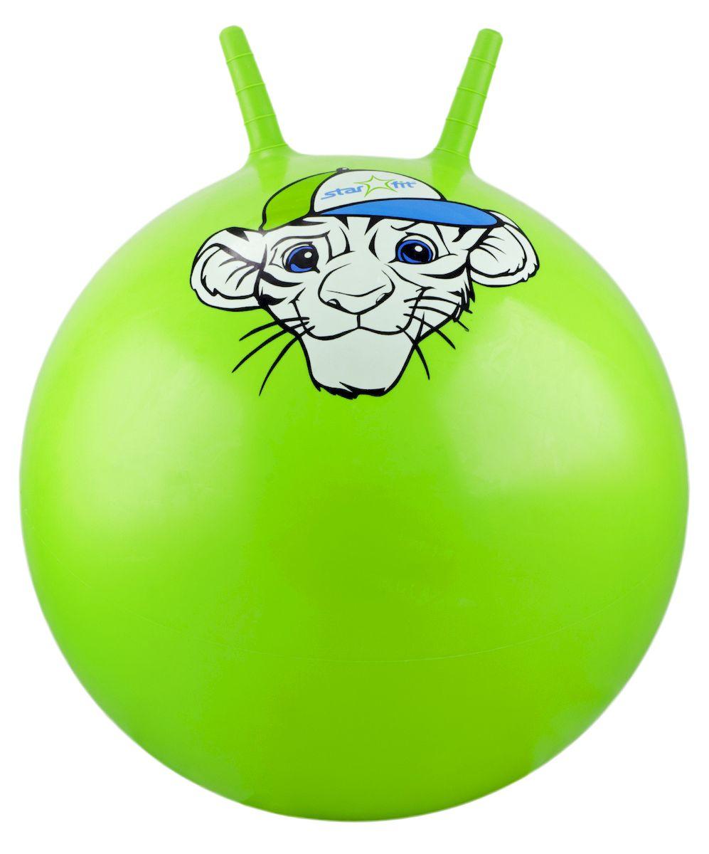 Мяч-попрыгун Starfit Тигренок, с рожками, цвет: зеленый, белый, голубой, диаметр 55 см эспандеры starfit эспандер starfit es 702 power twister черный 50 кг