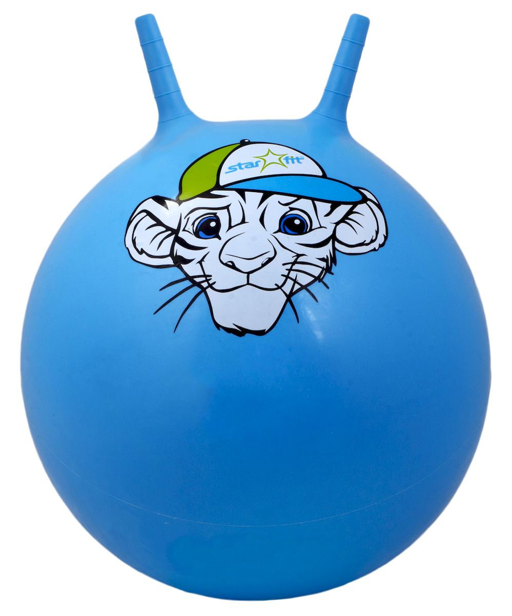 Мяч-попрыгун Starfit Тигренок, с рожками, цвет: синий, белый, зеленый, диаметр 55 см эспандеры starfit эспандер starfit es 702 power twister черный 50 кг