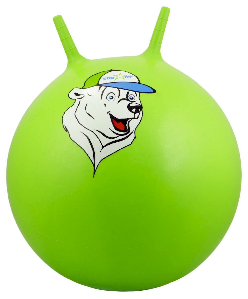 Мяч-попрыгун Starfit Медвежонок, с рожками, цвет: зеленый, белый, синий, диаметр 65 см эспандеры starfit эспандер starfit es 702 power twister черный 50 кг