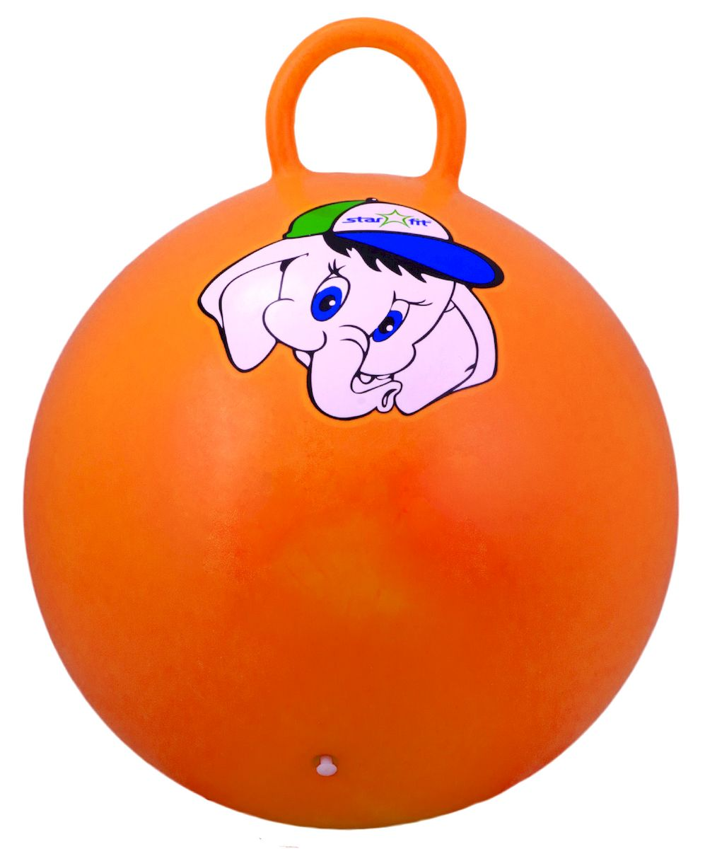 Мяч-попрыгун Starfit Слоненок, с ручкой, цвет: оранжевый, розовый, синий, диаметр 45 см эспандеры starfit эспандер starfit es 702 power twister черный 50 кг