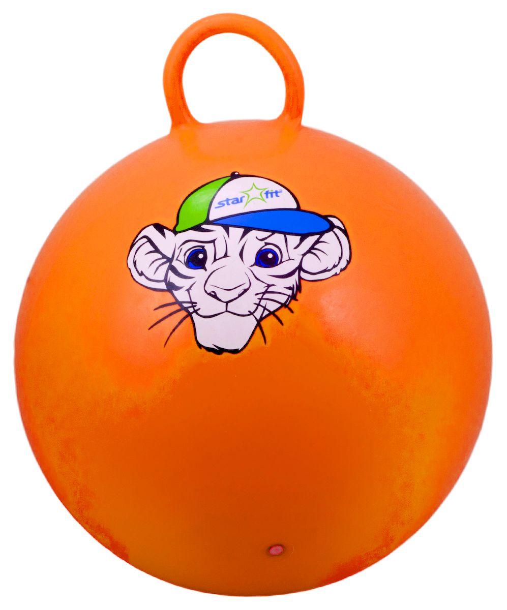 Мяч-попрыгун Starfit Тигренок, с ручкой, цвет: оранжевый, белый, синий, 55 см эспандеры starfit эспандер starfit es 702 power twister черный 50 кг