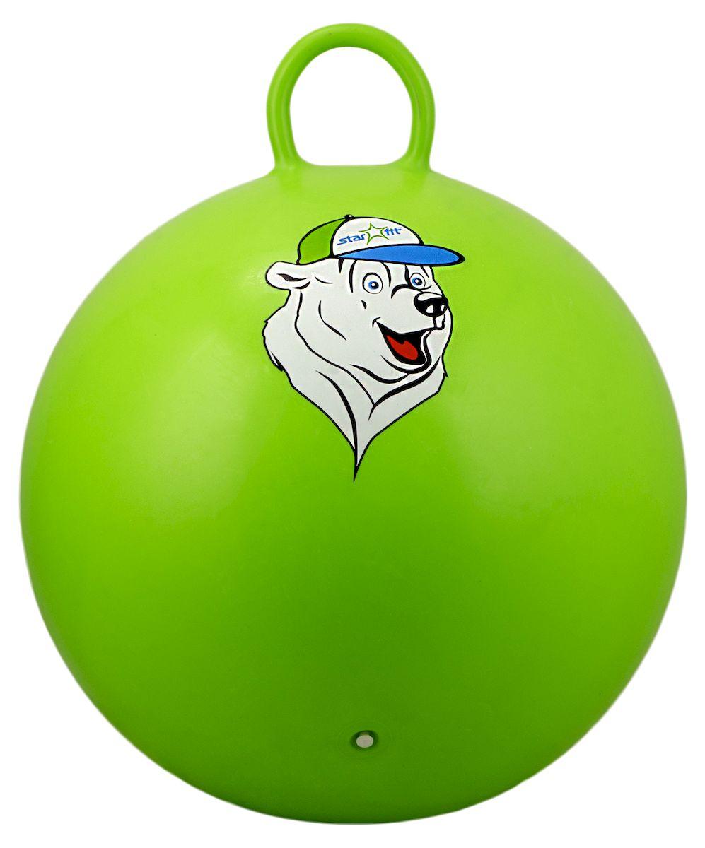 Мяч-попрыгун Starfit Медвеженок, с ручкой, цвет: зеленый, белый, синий, диаметр 65 смУТ-00007268Мяч-попрыгун Star Fit Медвеженок предназначен для гимнастических и медицинских целей в лечебных упражнениях. Оснащен ручкой. Мяч прекрасно подходит для использования в домашних условиях. Данный мяч можно использовать для: реабилитации после травм и операций, стимуляции и релаксации мышечных тканей, улучшения кровообращения, лечении и профилактики сколиоза, при заболеваниях или повреждениях опорно-двигательного аппарата.Максимальный вес пользователя: 200 кг.