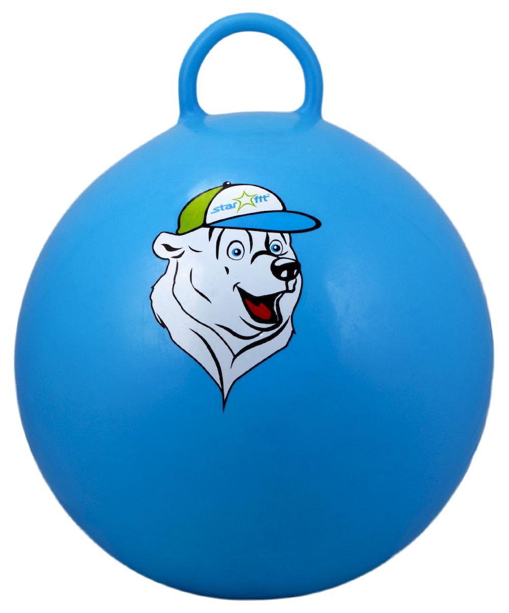 Мяч-попрыгун Starfit Медвежонок, с ручкой, цвет: синий, белый, зеленый, диаметр 65 см эспандеры starfit эспандер starfit es 702 power twister черный 50 кг