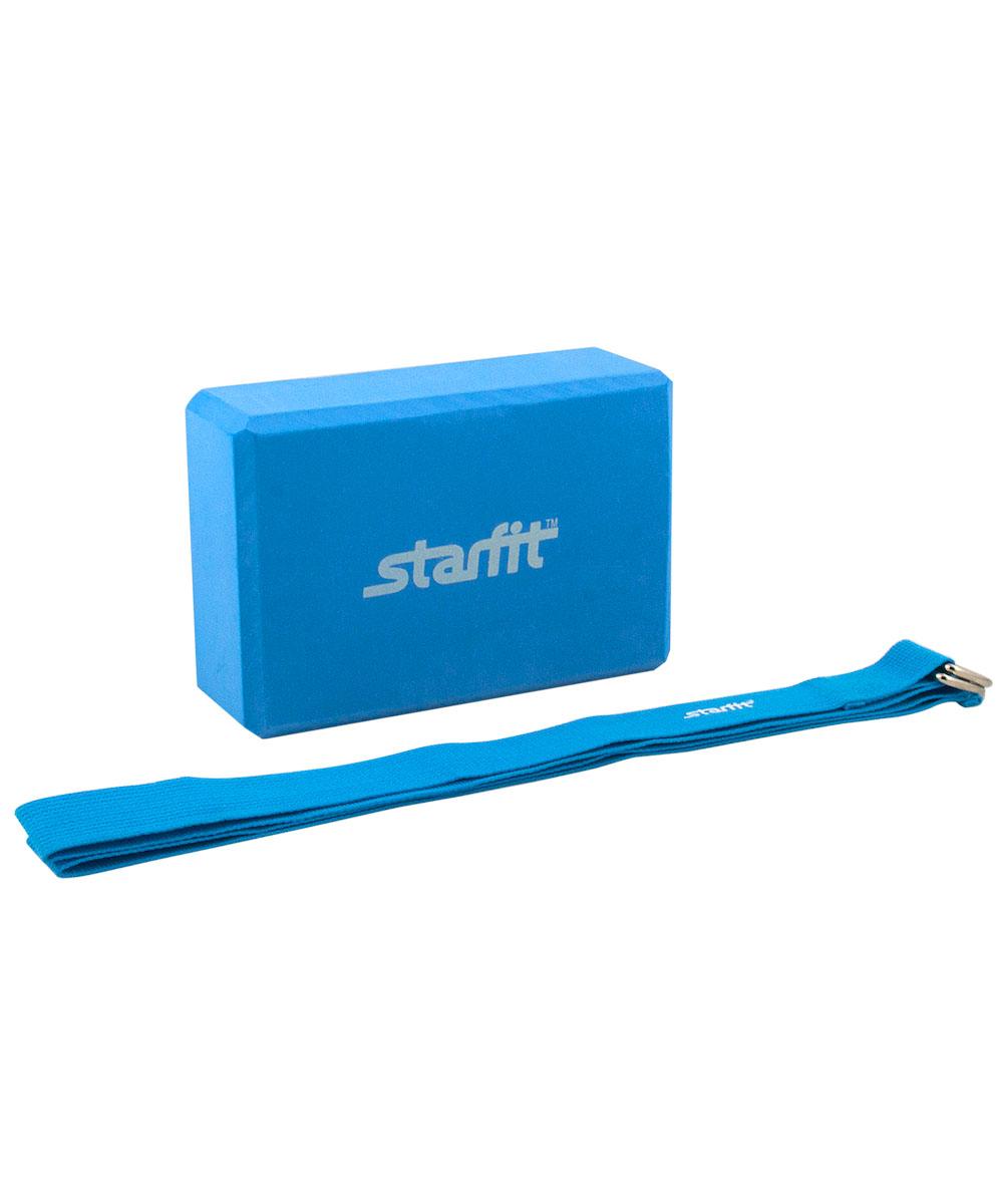 Комплект из блока и ремня для йоги Starfit