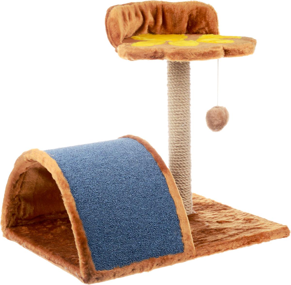 Когтеточка ЗооМарк Лапка, 63 х 47 х 52 см127Когтеточка ЗооМарк Лапка выполнена из дерева, обтянута искусственным мехом и предназначена для активных кошек. Когтеточка выполнена в виде столбика с оригинальной полкой и мостика. Столбик обтянут джутом, а мостик ковролином. Изделие поможет приучить кошку точить коготки в строго определенном месте. Целый дом будет в распоряжении у вашей кошки. Разные уровни высоты, когтеточка, место для отдыха в игровом комплексе позволят кошке резвится и точить коготки, а игрушка, прикрепленная к столбику, развлечет кошку.Размер основания: 63 х 47 см.Высота когтеточки: 52 см.