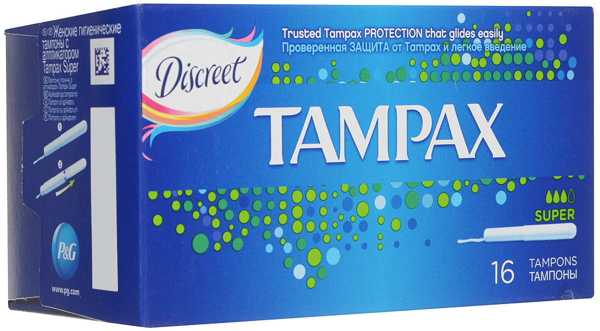 Тампоны женские гигиенические с аппликатором Tampax Super, 16 шт tampax compak super duo tm 83730736 16шт