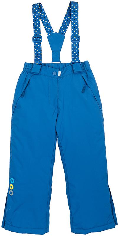 Брюки утепленные для девочки PlayToday, цвет: синий. 362154. Размер 98362154Удобные утепленные брюки выполнены из водонепроницаемого материала со светоотражателями. Брюки прямого кроя застегиваются спереди на кнопку и имеют ширинку на застежке-молнии. По бокам расположены два функциональных кармана на молниях с манжетами для защиты от снега. Пояс на резинке, по низу брючин предусмотрены боковые молнии для удобства обувания. Флисовая подкладка держит тепло и обеспечивает дополнительное удобство. Есть специальный слой - снегозащита, который надевается на сапоги. Съемные принтованные бретели удобно регулируются по длине.