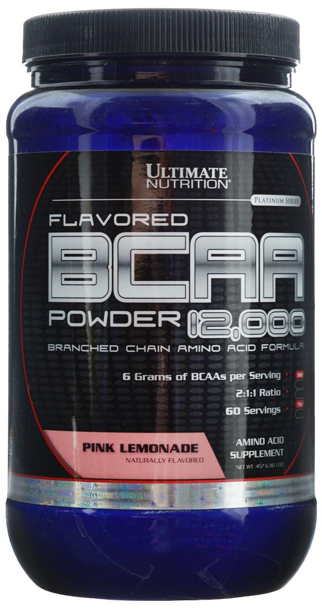 Аминокислоты Ultimate Nutrition BCAA 12,000, лимонад, 457 г31621В одной порции Ultimate Nutrition BCAA 12000 содержится 6 г BCAA. То, что аминокислоты в продукте находятся в свободном виде, позволяет им усваиваться с очень большой скоростью. Аминокислоты BCAA являются базовым продуктом для любого тренирующегося атлета, поскольку обладают очень важными свойствами для организма. Во-первых, это незаменимые аминокислоты, и потребность в них у организма велика. Во-вторых, эти аминокислоты строят 25% мышц человека. Это не мало. В-третьих, эти три аминокислоты участвуют в энергетическом обмене, организм использует их при крайне тяжелых нагрузках. При недостатке, он возьмет их из своих собственных нужд. Да, BCAA горят как углеводы, защищая наши мышцы. Именно поэтому они принимают перед тренировкой и после нее все, кто стремится нарастить мышечную массу или сделать ее более качественной.Состав: L-лейцин, L-изолейцин, L-валин, мальтодекстрин, лимонная кислота, вкусовой наполнитель, сукралоза.Товар сертифицирован.Как повысить эффективность тренировок с помощью спортивного питания? Статья OZON Гид