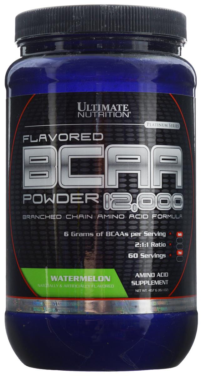 Аминокислоты Ultimate Nutrition BCAA 12,000, арбуз, 457 г447В одной порции Ultimate Nutrition BCAA 12,000 содержится 6 г BCAA. То, что аминокислоты в продукте находятся в свободном виде, позволяет им усваиваться с очень большой скоростью. Аминокислоты BCAA являются базовым продуктом для любого тренирующегося атлета, поскольку обладают очень важными свойствами для организма. Во-первых, это незаменимые аминокислоты, и потребность в них у организма велика. Во-вторых, эти аминокислоты строят 25% мышц человека. Это не мало. В-третьих, эти три аминокислоты участвуют в энергетическом обмене, организм использует их при крайне тяжелых нагрузках. При недостатке, он возьмет их из своих собственных нужд. Да, BCAA горят как углеводы, защищая наши мышцы. Именно поэтому их принимают перед тренировкой и после нее все, кто стремится нарастить мышечную массу или сделать ее более качественной.Состав: L-лейцин, L-изолейцин, L-валин, мальтодекстрин, лимонная кислота, вкусовой наполнитель, сукралоза.Товар сертифицирован.Как повысить эффективность тренировок с помощью спортивного питания? Статья OZON Гид