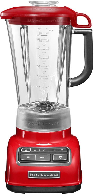 KitchenAid 5KSB1585EER, Red блендер5KSB1585EERСтационарный блендер KitchenAid Diamond - надежный помощник на каждый день.Удобная умная кухонная техника значительно облегчает жизнь каждой женщины, превращая процесс приготовления пищи из будничной рутины в искусство. Стационарный блендер KitchenAid Diamond - именно тот незаменимый и долговечный помощник на кухне, с помощью которого вы создадите свои лучшие кулинарные шедевры, ежедневно радуя близких людей и удивляя гостей.Стационарный блендер Kitchen Aid Diamond обладает массой достоинств, позволяющих ему работать безопасно и эффективно. Благодаря наличию 5 скоростей он может перемешивать и смешивать ингредиенты, измельчать их и превращать в пюре. Помимо основных функций в нем предусмотрен импульсный режим, делающий возможным контроль степени готовности блюда и режим дробления льда.