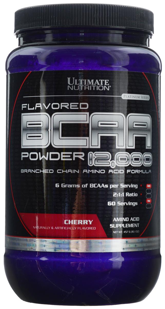 Аминокислоты Ultimate Nutrition BCAA 12,000, вишня, 457 г4607062757239В одной порции Ultimate Nutrition BCAA 12,000 содержится 6 г BCAA. То, что аминокислоты в продукте находятся в свободном виде, позволяет им усваиваться с очень большой скоростью. Аминокислоты BCAA являются базовым продуктом для любого тренирующегося атлета, поскольку обладают очень важными свойствами для организма. Во-первых, это незаменимые аминокислоты, и потребность в них у организма велика. Во-вторых, эти аминокислоты строят 25% мышц человека. Это не мало. В-третьих, эти три аминокислоты участвуют в энергетическом обмене, организм использует их при крайне тяжелых нагрузках. При недостатке, он возьмет их из своих собственных нужд. Да, BCAA горят как углеводы, защищая наши мышцы. Именно поэтому их принимают перед тренировкой и после нее все, кто стремится нарастить мышечную массу или сделать ее более качественной.Состав: L-лейцин, L-изолейцин, L-валин, мальтодекстрин, лимонная кислота, вкусовой наполнитель, сукралоза.Товар сертифицирован.Как повысить эффективность тренировок с помощью спортивного питания? Статья OZON Гид