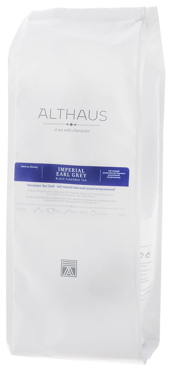 Althaus Imperial Earl Gre черный листовой чай, 250 гTALTHL-L00089Империал Эрл Грей — это купаж из лучших индийских и цейлонских сортов черного чая, дающий насыщенный классический вкус с элегантными цитрусовыми нотками бергамота. Эрл Грей (в переводе Граф Грей) — название, породившее множество легенд. Согласно одной из них, рецепт чая британскому дипломату Чарльзу Грею передал китайский вельможа в обмен на ценную услугу.Натуральное масло бергамота дополняет букет чая яркими терпко-сладкими оттенками. При заваривании Империал Эрл Грей дает красивый карамельного цвета настой; освежающий смолисто-цитрусовый запах становится более деликатным, балансируя крепкий структурный вкус чая. Масло бергамота способствует концентрации внимания и улучшению настроения, поэтому Эрл Грей идеален для утреннего чаепития. Этот чай прекрасно сочетается с молоком и сахаром. Оптимальная температура заваривания Империал Эрл Грей 95°СТемпература воды: 85-100 °С Время заваривания: 3-5 мин Цвет в чашке: светло-коричневыйВсё о чае: сорта, факты, советы по выбору и употреблению. Статья OZON Гид