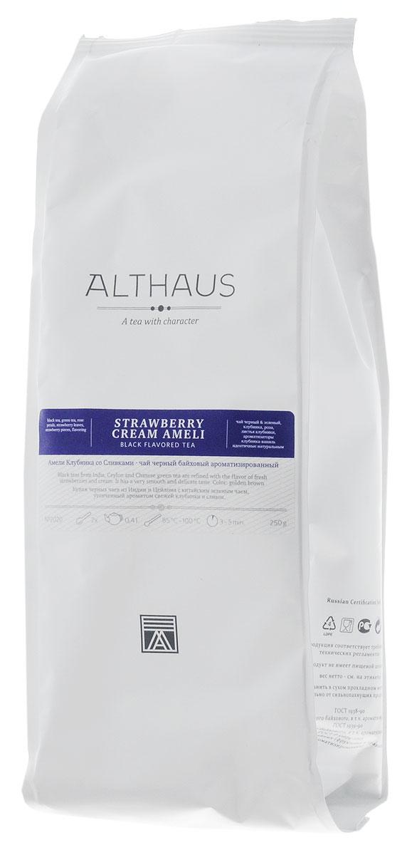 Althaus Strawberry Cream Ameli черный ароматизированный листовой чай, 250 гTALTHL-L00092Амели Клубника со Сливками — это превосходный купаж цейлонского черного чая и классической японской сенчи с кусочками сочной клубники. В его многогранном букете насыщенный вкус крепких черных сортов освежается травянистыми оттенками бархатисто-терпкого зеленого чая. Сладкий, но в то же время очень мягкий сливочно-клубничный аромат с легкой зеленой и карамельной нотой играет главную роль в этой необычной композиции. Красивый янтарный настой обладает нежным и утонченным вкусом: в нем ощущается приятная кислинка лесной земляники, свежесть только что раскрывшихся листочков и чарующий аромат розовых лепестков. Истинные гурманы найдут в этом чае все достоинства нежнейшего десерта — свежих ягод клубники в воздушном облаке взбитых сливок. Оптимальная температура заваривания: 95°С Температура воды: 85-100 °СВремя заваривания: 3-5 минЦвет в чашке: золотисто-коричневый