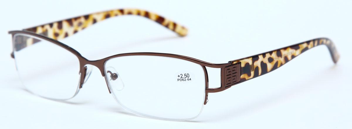 Proffi Home Очки корригирующие (для чтения) 302 Fabia Monti +2.50, цвет: коричневый - Корригирующие очки