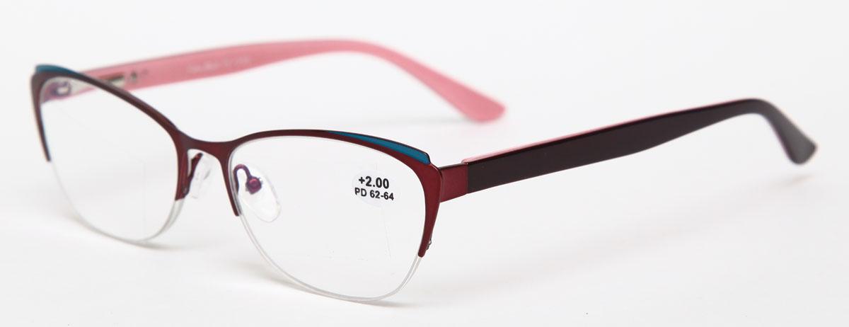 Proffi Home Очки корригирующие (для чтения) 830 Fabia Monti +2.00, цвет: бордовый - Корригирующие очки