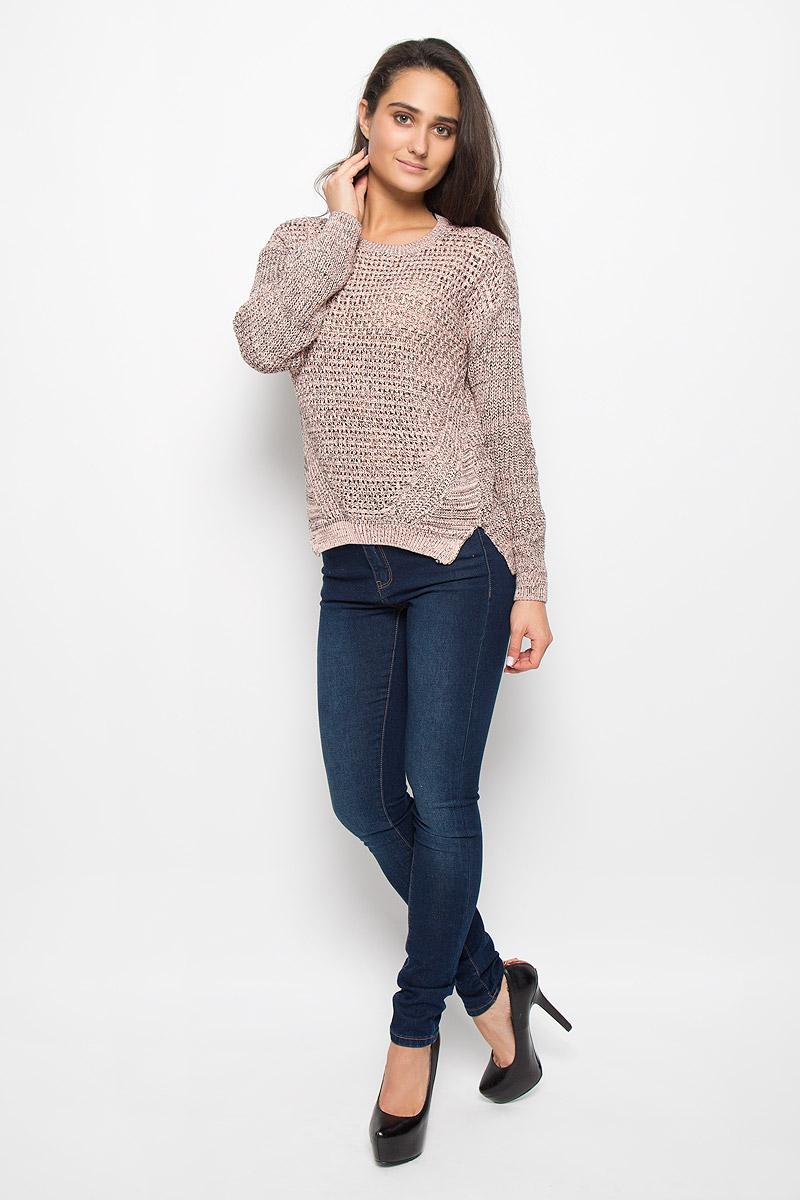 Джемпер женский Sela Casual, цвет: персиково-розовый, черный. JR-314/1140-6322. Размер L (48)JR-314/1140-6322Модный женский джемпер Sela Casual, изготовленный из натурального хлопка, приятный на ощупь, не сковывает движений и обеспечивает комфорт. Модель с круглым вырезом горловины и длинными рукавами идеально подойдет для создания современного образа в стиле Casual. Горловина, манжеты рукавов и низ джемпера связаны резинкой. Модель оформлена оригинальным вязаным узором. Нижняя часть модели по боковому шву дополнена небольшими разрезами. Спинка немного удлинена. Этот джемпер послужит отличным дополнением к вашему гардеробу.