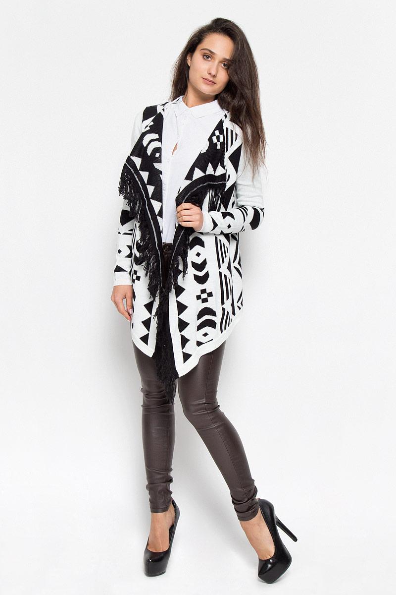 Кардиган женский Vero Moda, цвет: черный, белый. 10160079. Размер M (44) женский кардиган 013a56
