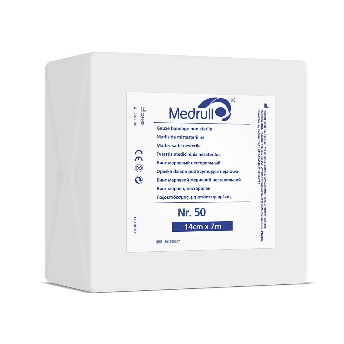 Medrull Бинт марлевый фиксирующий нестерильный, 7м х 14см, групповая упаковка № 504742225000729Марлевые бинты, нестерильные, состав 100% хлопок