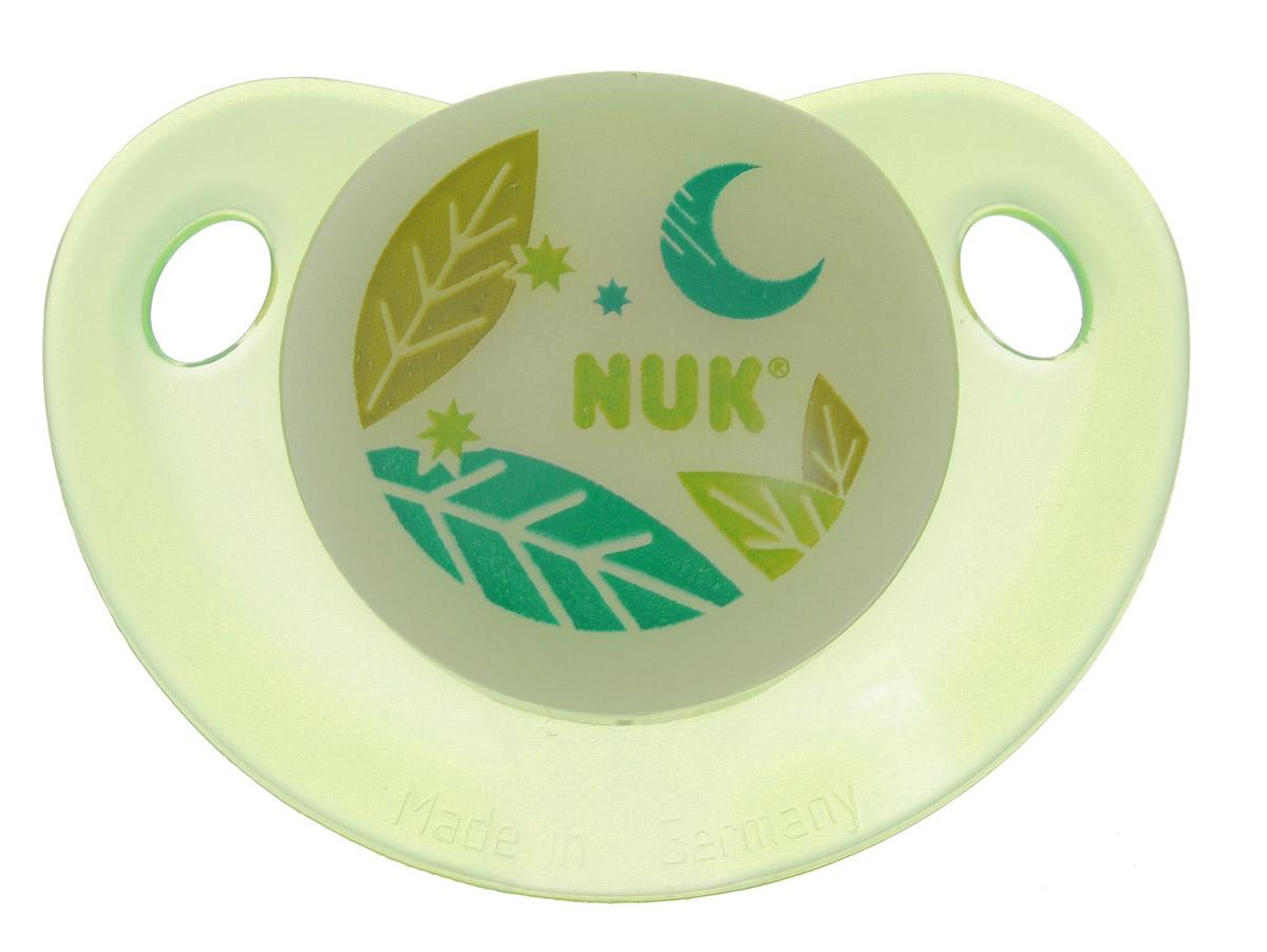 NUK Пустышка латексная для сна Листы ортодонтическая от 0 до 6 месяцев соска пустышка nuk night & day от 18 до 36 месяцев цвет салатовый синий