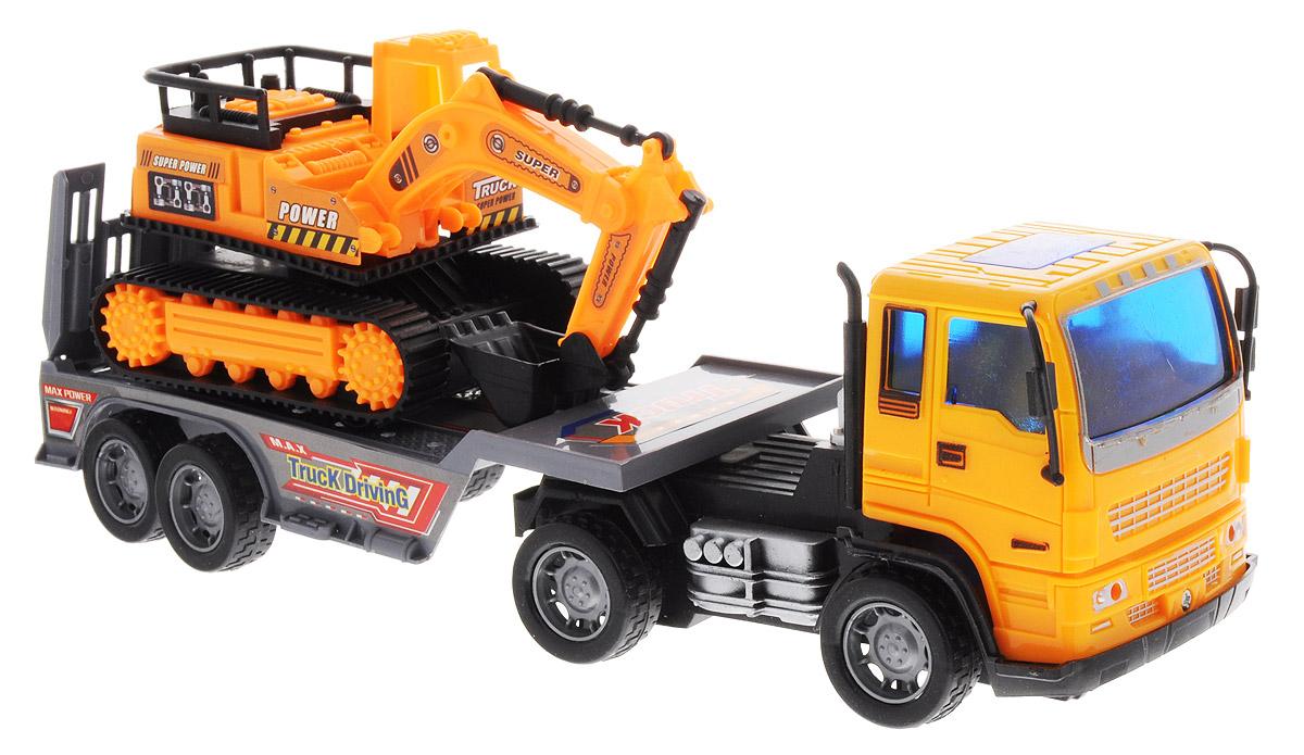 Junfa Toys Автовоз инерционный с экскаватором цвет оранжевый