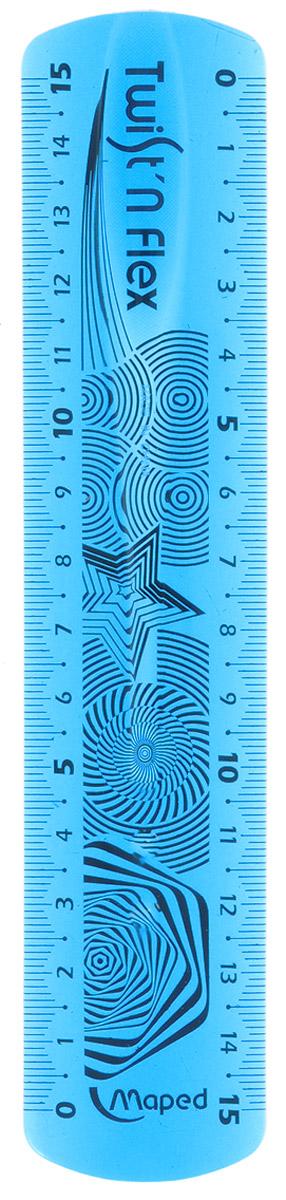 """Линейка Maped """"Twist'n'flex"""", неломающаяся, 15 см, цвет: голубой"""