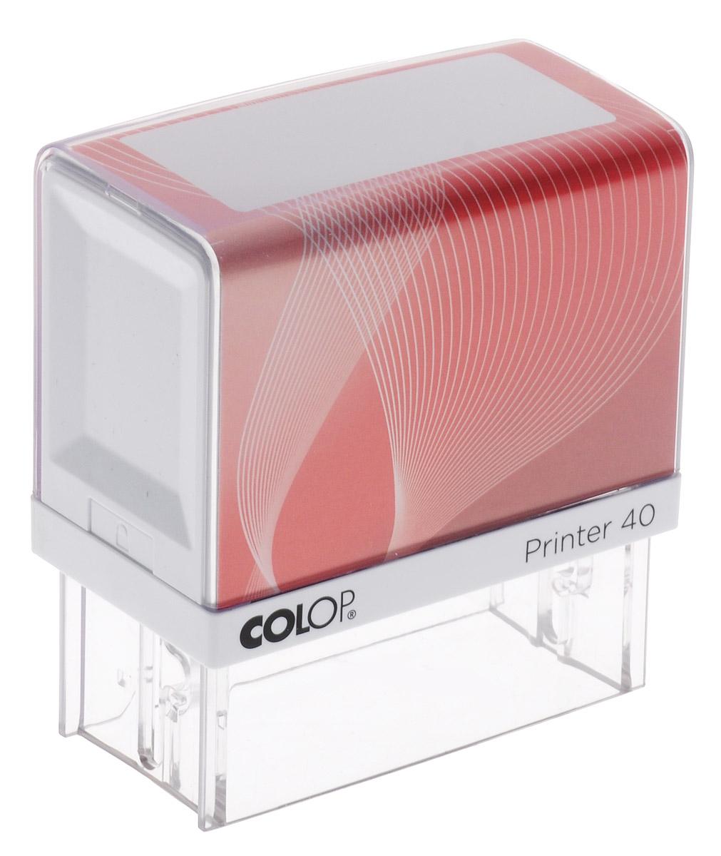 Colop Оснастка для штампа цвет красный 23 х 59 ммPrinter 40SАвтоматическая оснастка Colop с надежным корпусом из пластика и поворотным механизмом, окрашивающим текст.Цвет корпуса меняется с помощью бумажного вкладыша. Текстовые пластины прямоугольной формы различного размера под изготовление клише по индивидуальному заказу. Большое информационное окно для корпоративной или личной персонализации.В комплект входит: оснастка и синяя подушка, 2 двухсторонних цветных вкладыша, сменная подушка Е/40.