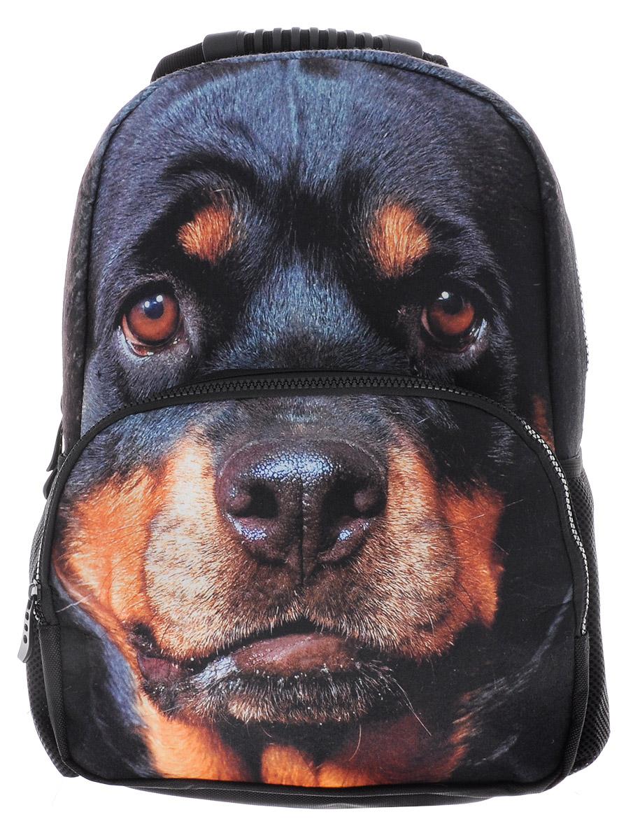 Hatber Рюкзак детский Security DogNR_00039Стильный детский рюкзак Hatber Security Dog выполнен из полиэстера и оформлен художественной печатью с изображением собаки породы ротвейлер.Рюкзак имеет одно основное отделение, закрывающееся на застежку-молнию с двумя бегунками. На лицевой стороне, рюкзака размещен накладной карман на молнии, внутри которого предусмотрен еще один накладной карман на липучке. По бокам изделия расположены два накладных сетчатых кармашка.Конструкция спинки дополнена противоскользящей сеточкой для предотвращения запотевания спины. Мягкие широкие лямки позволяют легко и быстро отрегулировать рюкзак в соответствии с ростом. Анатомическая форма лямок обеспечивает более плотную фиксацию рюкзака, предотвращая перенапряжение мышц спины. Рюкзак оснащен удобной эргономичной ручкой для переноски в руке.Этот рюкзак можно использовать школьникам, для повседневных прогулок, отдыха и спорта, а также как элемент вашего имиджа.Рекомендуемый возраст: от 6 лет.