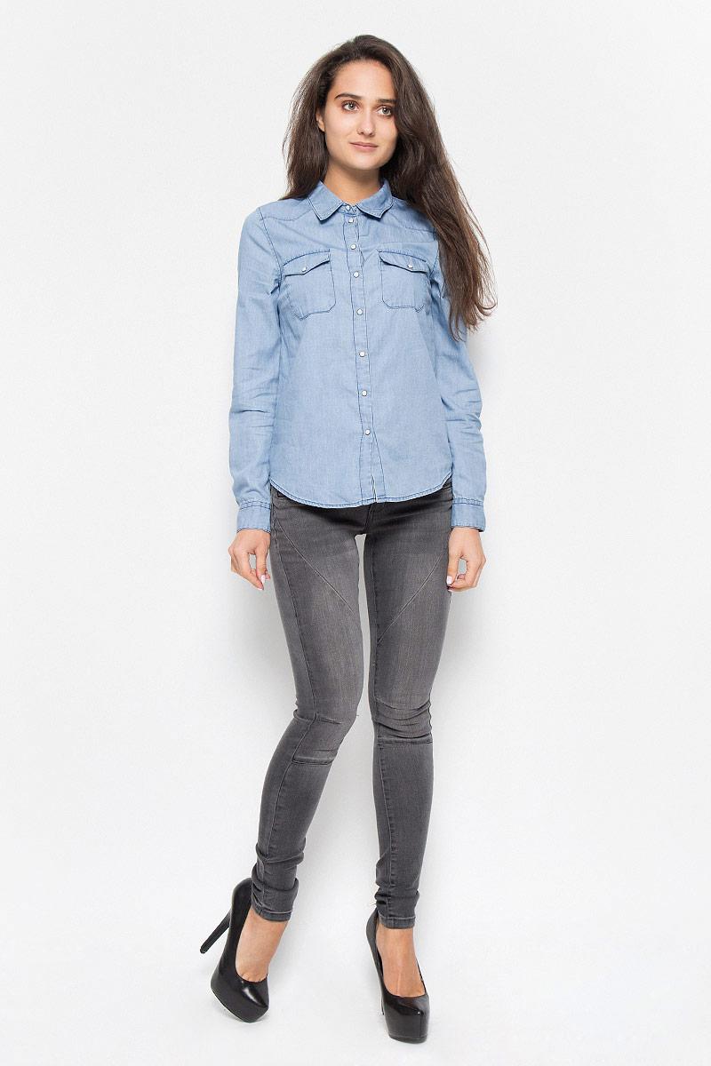 Купить Рубашка женская Vero Moda Noisy May, цвет: голубой. 10161258. Размер M (44)