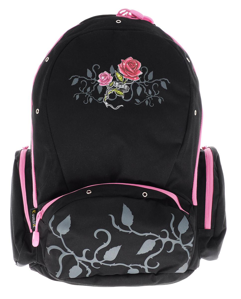 Tiger Enterprise Рюкзак детский Rose8603/TG_черный, розовыйУдобный детский рюкзак Tiger Enterprise Rose - это красивый и стильный рюкзак, который подойдет всем, кто хочет разнообразить свои школьные будни.Благодаря анатомической рельефной спинке, повторяющей контур спины и двум эргономичным плечевым ремням, длина которых регулируется, у ребенка не возникнут проблемы с позвоночником. Рюкзак выполнен из качественного и прочного материала.Рюкзак имеет одно основное отделение, которое закрывается на застежку-молнию с двумя бегунками. Внутри отделения расположен вместительный накладной карман на резинке и небольшой пришивной кармашек на молнии. По бокам рюкзака расположены два накладных кармана на молниях, на лицевой стороне - вместительный карман на молнии. Изделие оснащено удобной ручкой для переноски в руках и петлей для подвешивания.Детский рюкзак Tiger Enterprise Rose станет незаменимым спутником вашего ребенка в походах за знаниями.