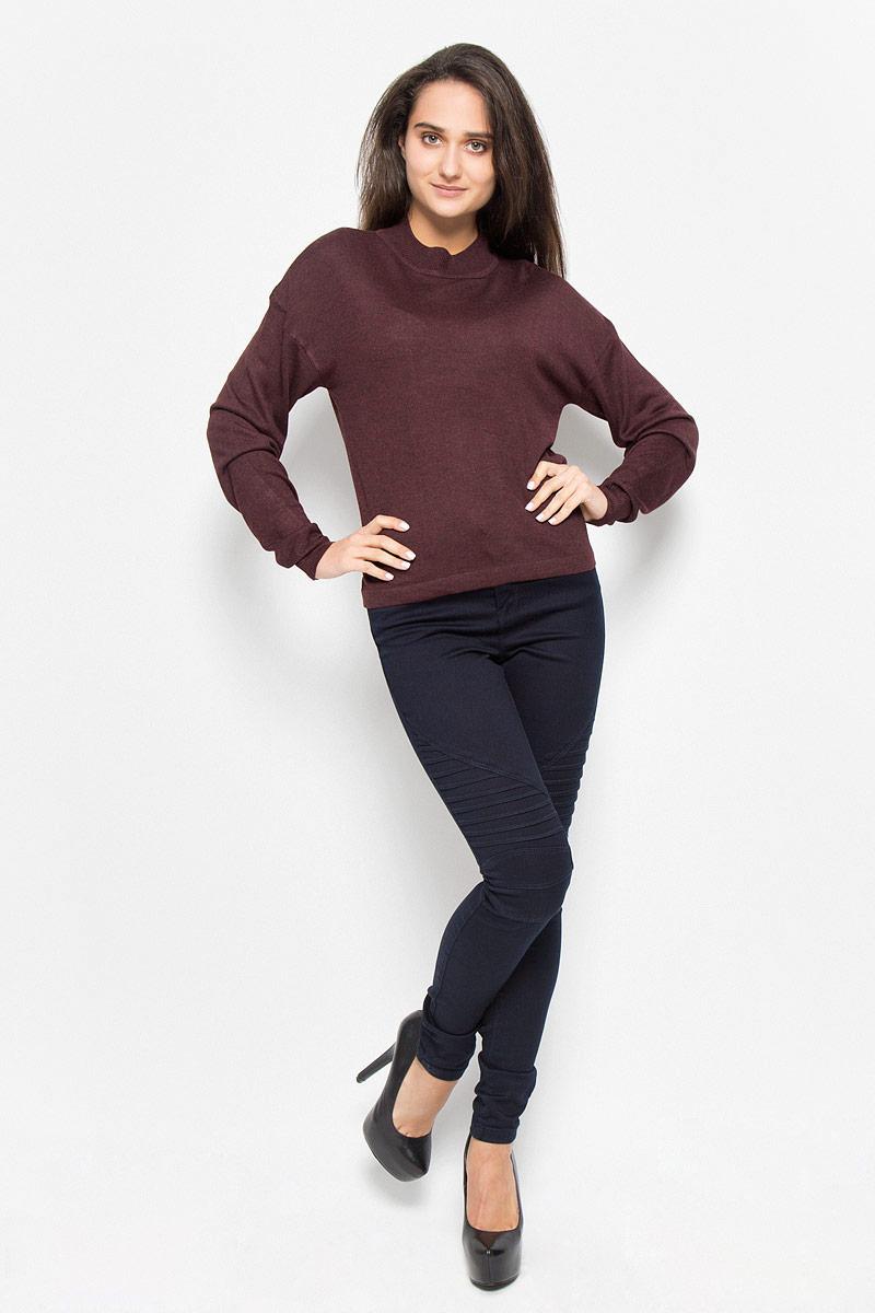 Джемпер женский Vero Moda Noisy May, цвет: бордово-коричневый. 10145560. Размер XS (40) джемпер женский vero moda цвет молочный 10189425 pristine размер m 44