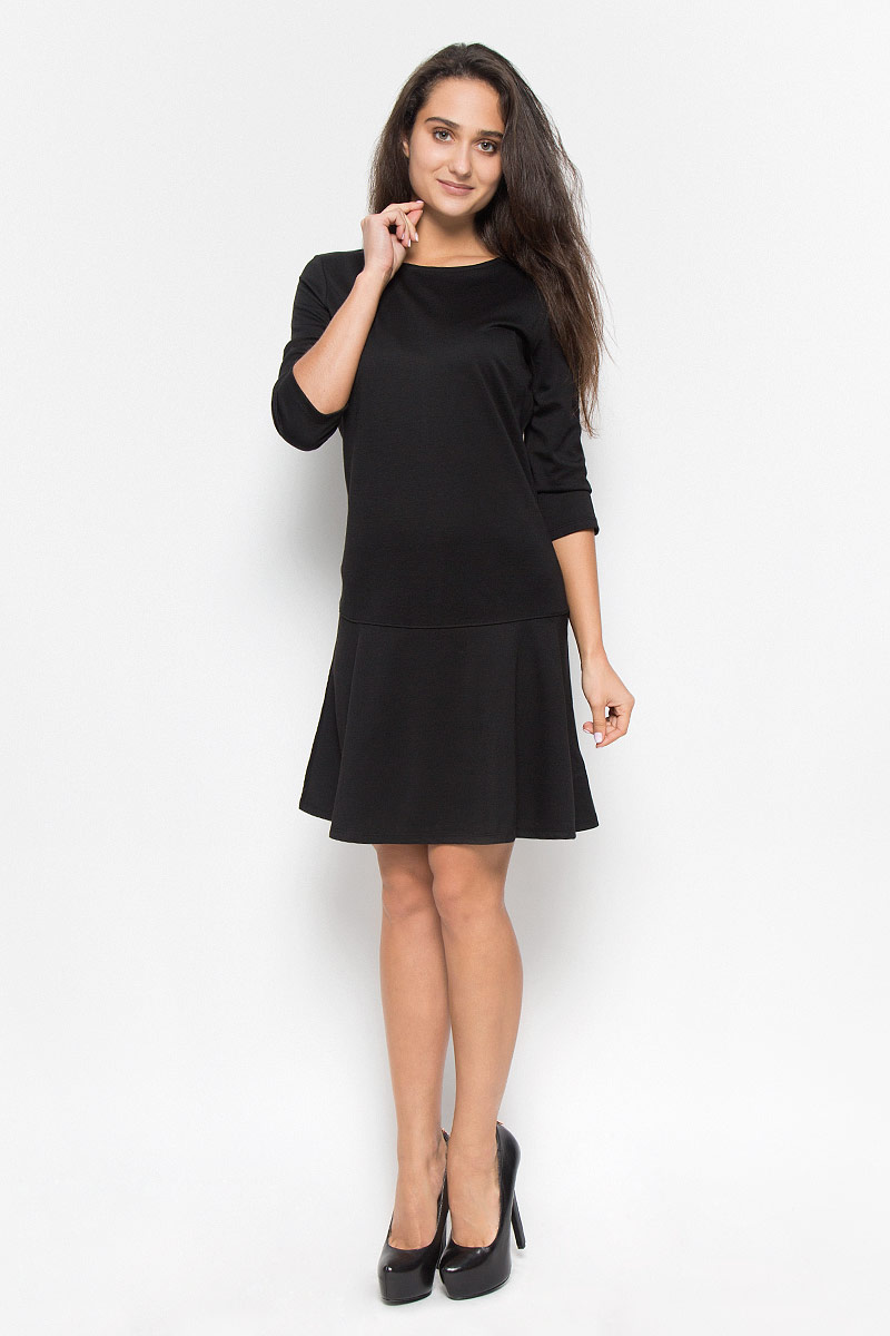 Платье Tom Tailor, цвет: черный. 5019558.00.75_2999. Размер 40 (46)5019558.00.75_2999Элегантное платье Tom Tailor выполнено из натурального хлопка. Такое платье обеспечит вам комфорт и удобство при носке и непременно вызовет восхищение у окружающих. Модель средней длины с рукавами до локтя и круглым вырезом горловины выгодно подчеркнет все достоинства вашей фигуры. Платье застегивается на застежку-молнию на спинке. Изысканное платье-миди создаст обворожительный и неповторимый образ.Это модное и комфортное платье станет превосходным дополнением к вашему гардеробу, оно подарит вам удобство и поможет подчеркнуть ваш вкус и неповторимый стиль.