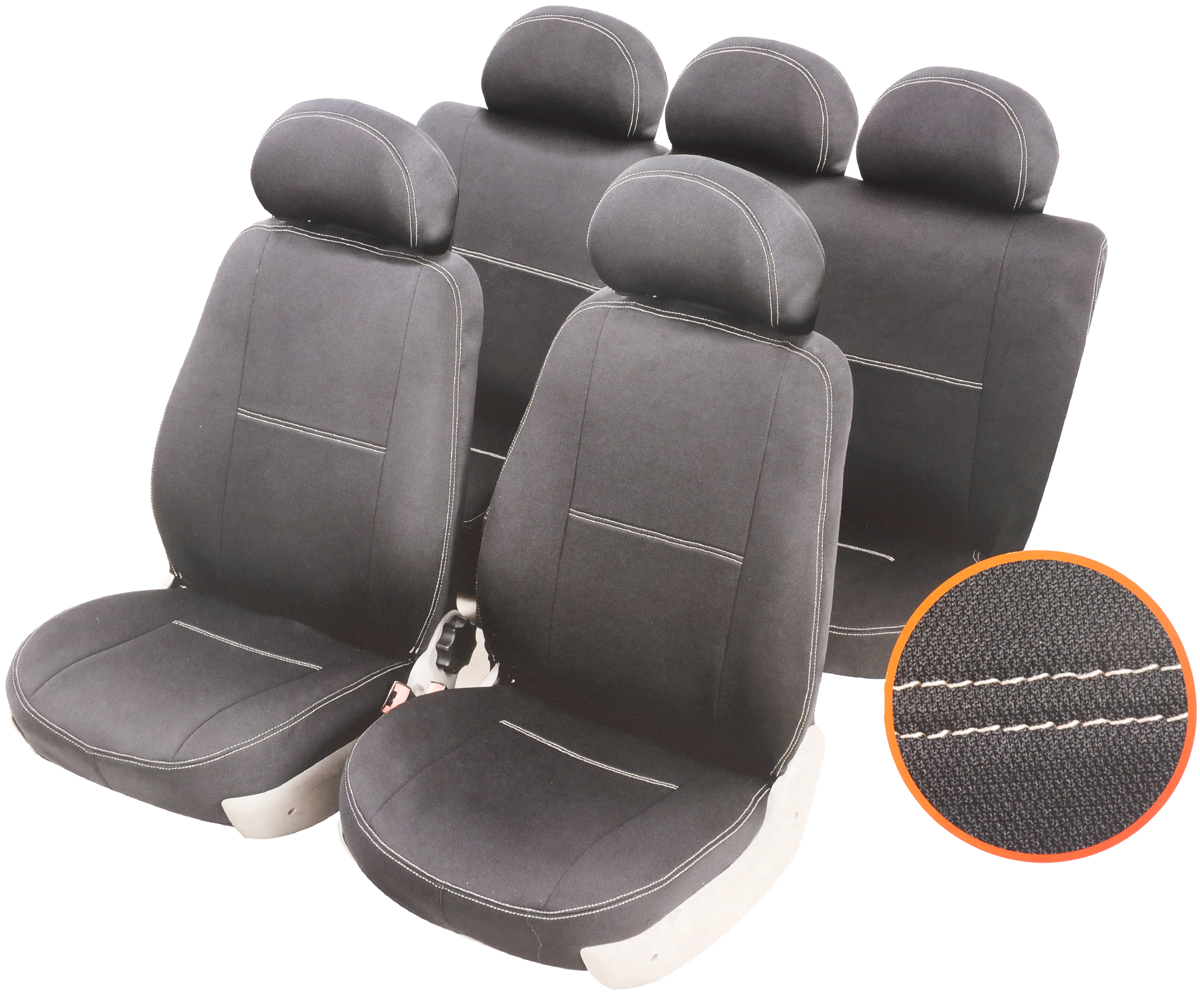 Чехлы автомобильные Azard Standard, для Hyundai Solaris хэтчбек 5-дверный 2010-, раздельный задний рядA4010111Автомобильные чехлы Azard Standard изготовлены из качественного полиэстера, триплированного огнеупорным поролоном толщиной 3 мм, за счет чего чехол приобретает дополнительную мягкость. Подложка из спандбонда сохраняет свойства поролона и предотвращает его разрушение. Водительское сиденье имеет усиленные швы, все внутренние соединительные швы обработаны оверлоком. Чехлы идеально повторяют штатную форму сидений и выглядят как оригинальная обивка. Разработаны индивидуально для каждой модели автомобиля. Дизайн чехлов Azard Standard приближен к оригинальной обивке салона. Двойная декоративная контрастная прострочка по периметру авточехлов придает стильный и изысканный внешний вид интерьеру автомобиля. В спинках передних сидений расположены карманы, закрывающиеся на молнию. Чехлы сохраняют полную функциональность салона - трансформация сидений, возможность установки детских кресел ISOFIX, не препятствуют работе подушек безопасности AIRBAG и подогреву сидений. Для простоты установки используется липучка Velcro, учтены все технологические отверстия. Авточехлы Azard Standard просты в уходе - загрязнения легко удаляются влажной тканью. Чехлы имеют раздельную схему надевания.
